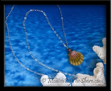 """Green Pink Moonrise Sunrise Shell Pendant on 36"""" Long-Cable Silver Chain Medallion Necklace"""
