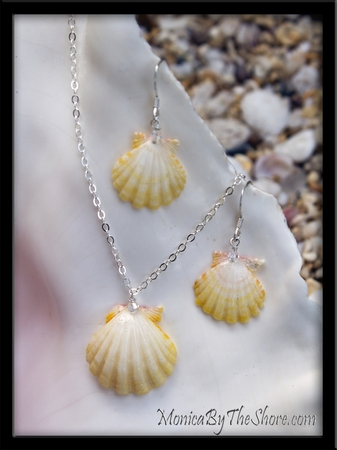 Rare Pale Yellow & White Baby Sunrise Shell Earring & Necklace Set