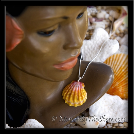 Hawaiian Sunrise Shell Pendant on Sterling Silver Ball Chain Necklace