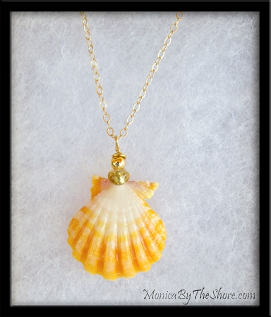 Bright White & Yellow Sunrise Shell Amber Gold Chain Necklace