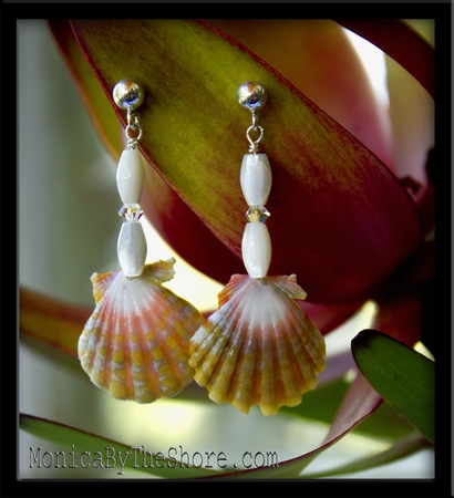 Pink Chartreuse & Mother of Pearl Sunrise Shell Earrings