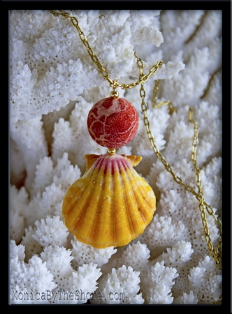 Red Sponge & Sunrise Shell Necklace for Japan Tsunami Relief