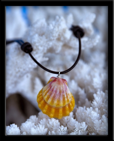 Classic Pink & Yellow Hawaiian Sunrise Shell Brown Leather Adjustable Necklace