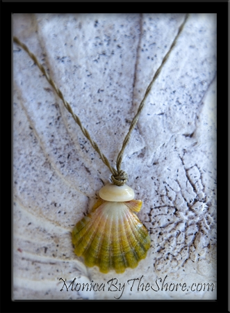"""Green & Pink """"Country"""" Style Sunrise Shell Twisted Cord Necklace"""
