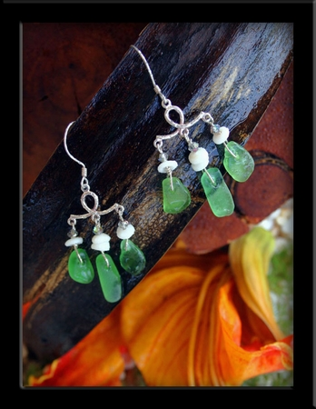 Seaglass, Crystal & Puka Shell Chandalier Earrings