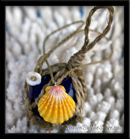 Sunrise Shell Pendant on Twisted Cord Necklace