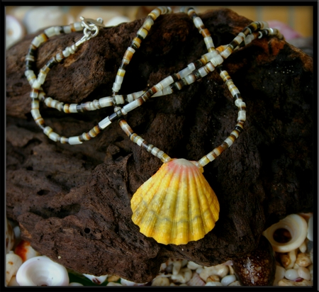 Pink Yellow Green Sunrise Shell Medallion Heishi Shell Necklace