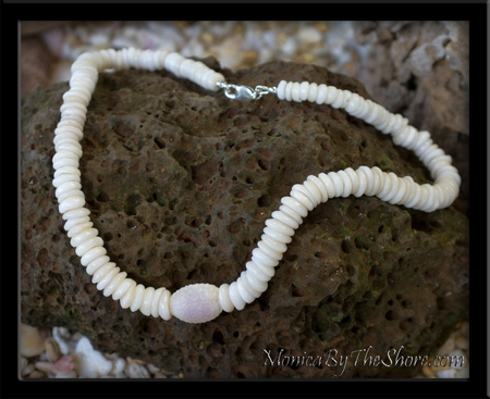 Custom Puka Shell and Granulated Cowrie Shell Necklace