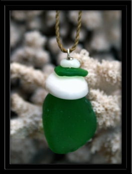 Green Sea Glass and Puka Shell Layered Necklace