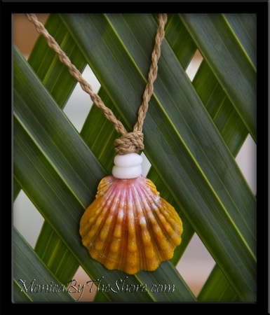 North Shore Country Style Orange & Pink Sunrise Shell & Puka Shell Cord Necklace