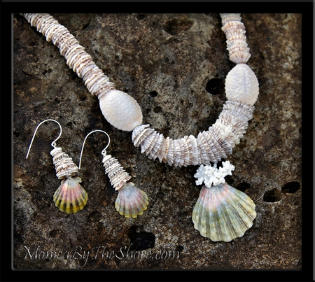 """Opihi Shells, Granulated """"Bumpy"""" Cowrie & Sunrise Shell Lei Necklace"""