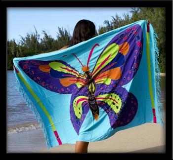 Bali Batik Butterfly Sarong with Embroidery