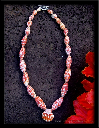 Red Miter Shell & Red White Hawaiian Sunrise Shell Lei Necklace