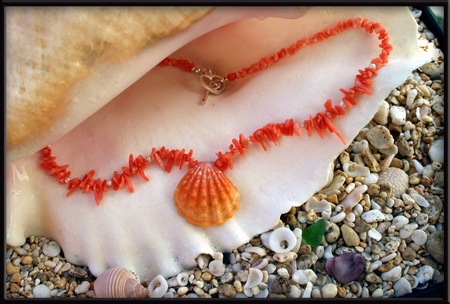 Pink Orange Sunrise Shell & Peach Coral & Pearl Necklace