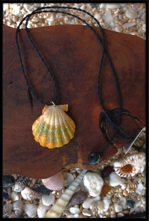 White Green Yellow Sunrise Shell Black & Cord Necklace