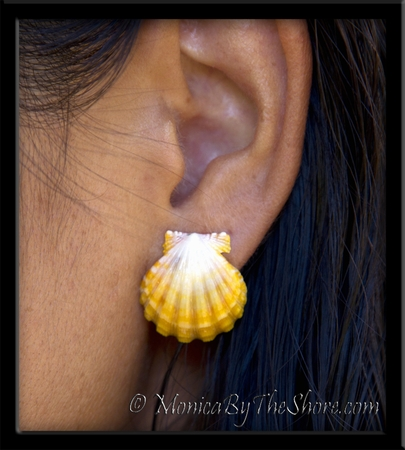 Sunrise Shell Bright Yellow & White Sterling Silver Post Earrings
