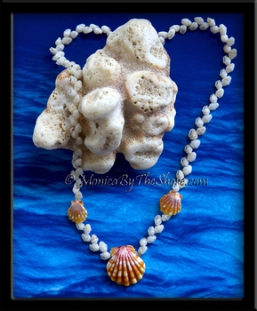 Momi Shells & 3 Hawaii Sunrise Shells Lei Necklace