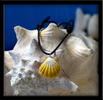 Yellow White Green Hawaiian Sunrise Shell on Black Rolled Leather Adjustable Necklace