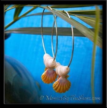 Classic Pink & Yellow Sunrise Shell & Puka Shells Big Silver Hoop Earrings