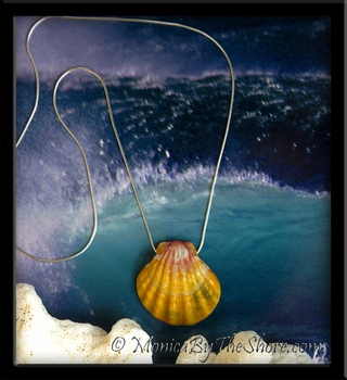 Extra Large Multi Colored Floating Sunrise Shell Pendant on Snake Chain Necklace