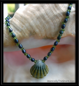 Green Moonrise Sunrise Shell Black Pearl & Tourmaline Necklace