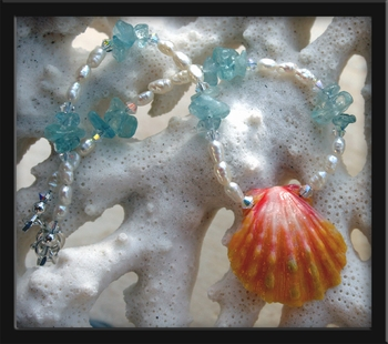 Sunrise Shell Aquamarine Pearl & Crystal Anklet