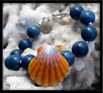 Blue Coral, Pink Pearls & Sunrise Shell Bracelet
