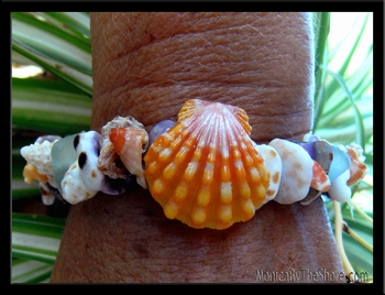 Ke Iki Beach Orange Sunrise Shell, Sea Glass & Seashell Bracelet