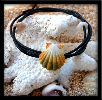 The Naturalist Yellow Green & White Sunrise Shell & Leather Cord Bracelet Anklet