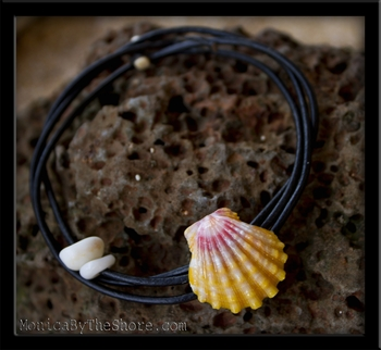Pink & Yellow Sunrise Shell Naturalist Leather Bracelet Anklet