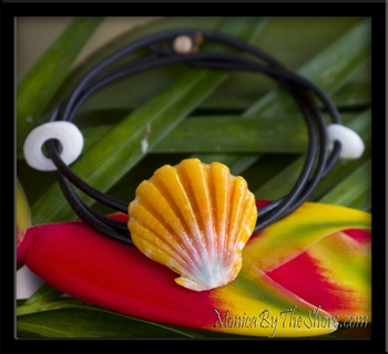 Custom for Ayako Sunrise Shell Naturalist Leather Bracelet with Puka Shells