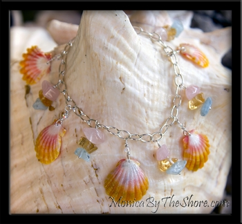 """Sea Gems"" 5 Hawaiian Sunrise Shells & Gem Stones Charm Bracelet"