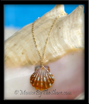 Orange Stripe Hawaiian Sunrise Shell Gold Chain Bracelet