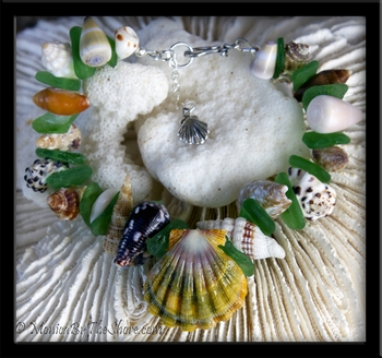 "Chunky ""Beach Candy"" Seashell & Sea Glass Sunrise Shell Bracelet with Scallop Charm"