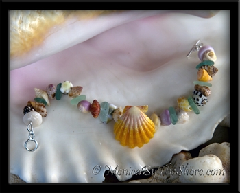 "Custom Hawaiian Sunrise Shell ""Beach Candy"" Seashell Bracelet"