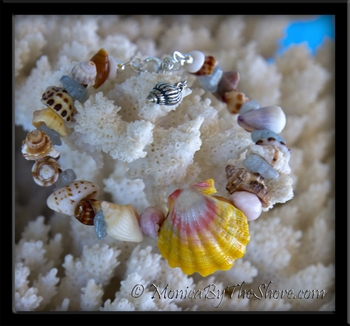 "Custom ""Beach Candy"" Sunrise Shell Seashells & Aquamarine Bracelet"