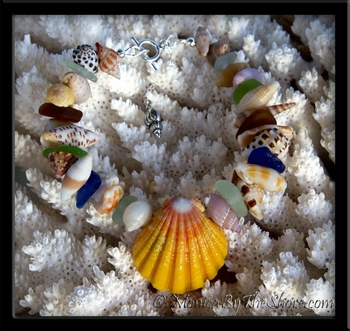 "Hawaiian Sunrise Shell & Sea Glass ""Beach Candy"" Bracelet"