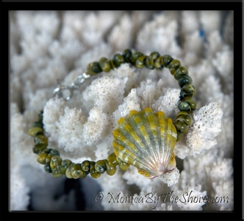 Lime Green Sunrise Shell & Tahitian Mongo Shells Bracelet