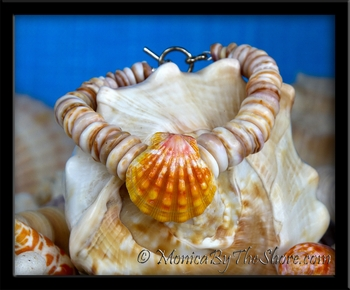 Mango Sherbert Sunrise Shell & Chunky Colored Puka Shells Bracelet