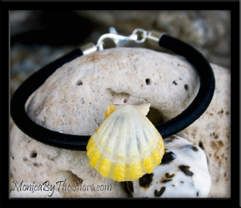 """Haleiwa Hardware"" Bright Yellow Sunrise Shell Leather Bracelet"