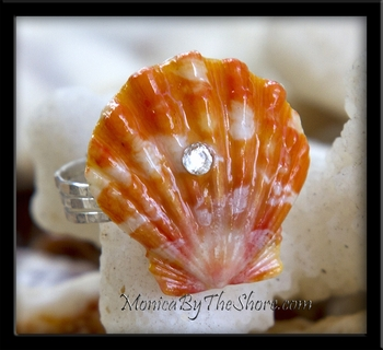 "Custom for ""Kekau"" Hawaiian Sunrise Shell Sterling Silver Ring with Crystal"