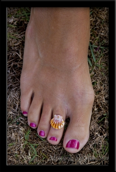 Toe Ring!  Orange Pink White Hawaiian Sunrise Shell Sterling Silver