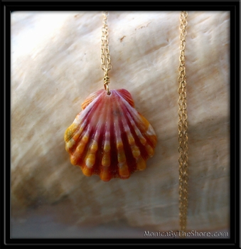Pink Orange Hawaiian Sunrise Shell Pendant & Gold Chain