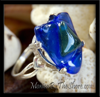 Cobalt Blue & Green Sea Glass Sterling Silver Ring