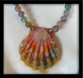 Baby Rainbow Sunrise Shell Ocean Jasper Keiki Necklace