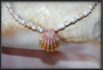 Baby Pink Sunrise Shell and carved Conch Shell Beaded Necklace