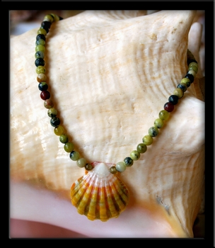 Baby Yellow Green Sunrise Shell Ocean Jasper Infant Necklace