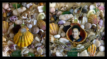 Special Keepsake Hawaiian Sunrise Shell Pendant with Photo & Birthstones Necklace