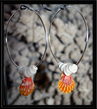 Big Hoop Pink Sunrise Shell & Puka Shell Earrings