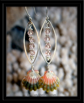 Mermaid's Pink & Green Sunrise Shell & Glass Bead Earrings